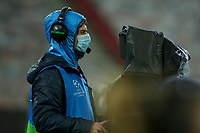 PIRAEUS, GREECE - DECEMBER 09: Camere man during the UEFA Champions League Group C stage match between Olympiacos FC and FC Porto at Karaiskakis Stadium on December 9, 2020 in Piraeus, Greece. (Photo by MB Media)