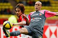 FOOTBALL - FRENCH CHAMPIONSHIP 2010/2011 - L1 - AS MONACO v RC LENS - 15/05/2011 - PHOTO PHILIPPE LAURENSON / DPPI - CHU-YOUNG PARK (ASM) / ALAEDDINE YAHIA (LEN)