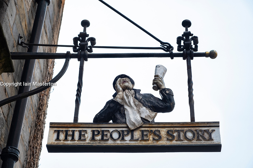 Detail of sign outside The People's Story Museum on Royal Mile in Edinburgh Old Town, Scotland, United Kingdom