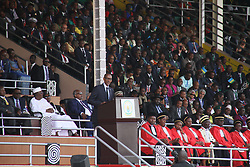 (170818) -- KIGALI, Aug. 18, 2017 (Xinhua) -- Rwandan President Paul Kagame (C) delivers inaugural speech at the inauguration ceremony in Kigali, capital of Rwanda, on Aug. 18, 2017. Paul Kagame on Friday was sworn in as president of Rwanda for his third term in Kigali. (Xinhua/Lyu Tianran) (Photo by Xinhua/Sipa USA)