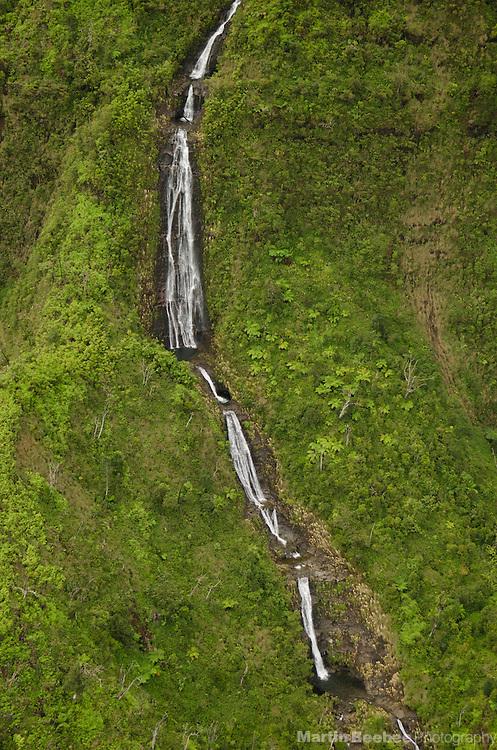 Aerial view of waterfall, Kauai, Hawaii