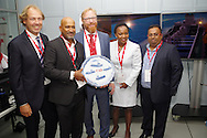DURBAN - 2 September 2016 - Ricchard Vallihu, the chief executive of South Africa's Transnet National Port Authority hold a Delft plate received from the Dutch firm Royal IHC after the opening of a R29 million dredging simulator in Durban. The simulator will be used at a Dredging School that is set to open in Durban in January 2017. The simulator was installed by Royal IHC. From left are Royal IHC project manager Philip van den Broek, Vallihu, Royal IHC's manager of supplier development Bert-Jan de Keijzer, TNPA's chief human resources officer Nonkululeko Sishi, and TNPA's head of dredging services Carl Gabriel. Picture: Giordano Stolley