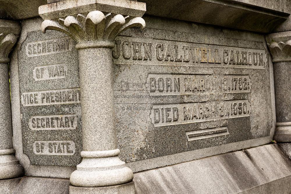 The tombstone of former Vice President and statesman John C. Calhoun in the Saint Philips Episcopal Church Cemetery along Church Street in historic Charleston, SC.