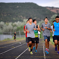 082113  Adron Gardner/Independent<br /> <br /> The Window Rock Scout cross country starts an afternoon practice run at the Field House track in Fort Defiance Wednesday.