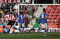Photo: Lee Earle.<br /> Southampton v Cardiff City. Coca Cola Championship. 21/10/2007. Stern John (2ndL) scores Southampton's first.