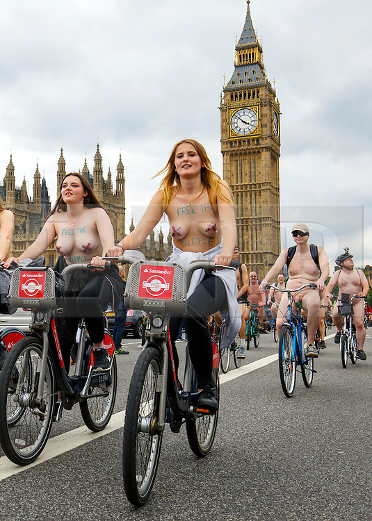 © Licensed to London News Pictures. 13/06/2015. London, UK. Nude protesters crossing Westminster Bridge in London on Saturday, 13 June 2015 as part of the World Naked Bike Ride event, which protests against car culture and aims to raise awareness of cyclists on the roads. Photo credit: Tolga Akmen/LNP