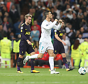 Cristiano Ronaldo celebrates his goal during the Champions League match between Real Madrid and Tottenham Hotspur at the Santiago Bernabeu Stadium, Madrid, Spain on 17 October 2017. Photo by Ahmad Morra.