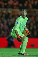 Everton goalkeeper Joel Robles   watches as the ball goes over  during the Capital One Cup match between Middlesbrough and Everton at the Riverside Stadium, Middlesbrough, England on 1 December 2015. Photo by Simon Davies.