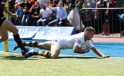 Wasps' Jimmy Gopperth has a try disallowed for a hand in touch during the Aviva Premiership Semi Final at Allianz Park, London.