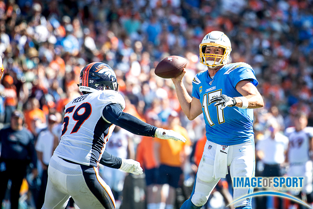 Los Angeles Chargers quarterback Philip Rivers (17) sets to throw during an NFL football game agasint Denver Broncos. The Broncos defeated the Chargers 20-13 on Sunday, Oct. 6, 2019, in Carson, Calif. (Ed Ruvalcaba/Image of Sport)