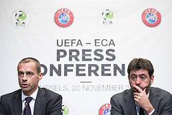 November 20, 2018 - Brussels, BELGIUM - UEFA President Aleksander Ceferin and ECA Chairman Andrea Agnelli pictured during a press conference of the Union of European Football Associations UEFA, Tuesday 20 November 2018 in Brussels. Earlier Tuesday, there was a meeting with the European Commissioner for Education, Culture, Youth and Sports. BELGA PHOTO LAURIE DIEFFEMBACQ (Credit Image: © Laurie Dieffembacq/Belga via ZUMA Press)