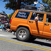 The Mammoth Lakes annual Fourth of July celebration includes a town parade down Old Mammoth Road.