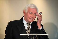 © Licensed to London News Pictures. 25/08/2015. London, UK. Ex-Tory MP Harvey Proctor at a press conference in central London after he was interviewed by police for a second time yesterday about a VIP child abuse probe. Photo credit: Ben Cawthra/LNP