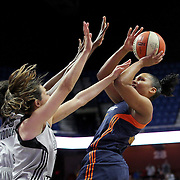 UNCASVILLE, CONNECTICUT- MAY 05:  Alyssa Thomas #25 of the Connecticut Sun shoots over Haley Peters #7 of the San Antonio Stars during the San Antonio Stars Vs Connecticut Sun preseason WNBA game at Mohegan Sun Arena on May 05, 2016 in Uncasville, Connecticut. (Photo by Tim Clayton/Corbis via Getty Images)