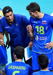 Coach Andrea Giani, Klemen Cebulj during volleyball match between National teams of Netherlands and Slovenia in Playoff of 2015 CEV Volleyball European Championship - Men, on October 13, 2015 in Arena Armeec, Sofia, Bulgaria. Photo by Ronald Hoogendoorn / Sportida