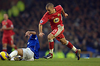 Photo: Paul Greenwood.<br />Everton v Blackburn Rovers. The Barclays Premiership. 10/02/2007. Blackburn's David Bentley, right, beats the sliding tackle of Everton's Mikel Arteta