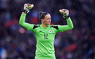 Germany Women goalkeeper Almuth Schult celebrates after opening goal<br /> - Womens International Football - England vs Germany - Wembley Stadium - London, England - 23rdNovember 2014  - Picture Robin Parker/Sportimage