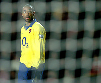 Photo: Richard Lane.<br />Southampton v Arsenal. Barclaycard Premiership.<br />29/12/2003.<br />Thierry Henry looks up at the screen.