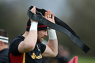 Alun Wyn Jones, the Wales captain during the Wales Rugby team training at the Vale Resort, Hensol near Cardiff, South Wales on Thursday 2nd Feb 2017.  The team are preparing for the the RBS Six nations match against Italy.  pic by  Andrew Orchard, Andrew Orchard sports photography.