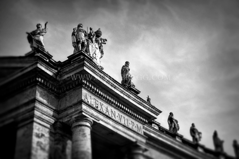 Black and White photo,statues, Piazza San Pietro, St. Peter's Square,Vatican City, Italy.