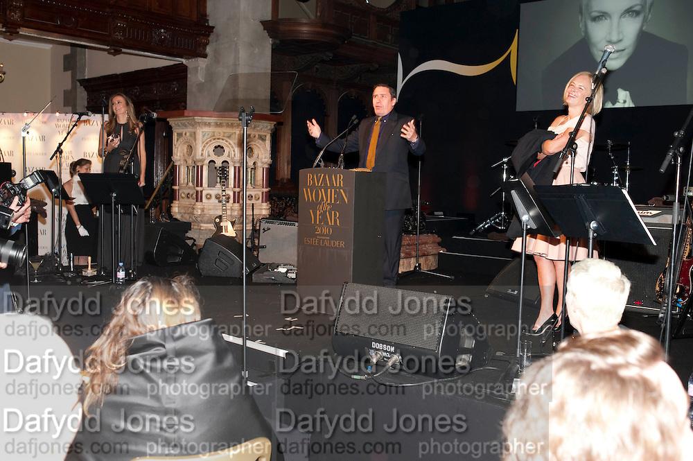 JOOLS HOLLAND;  MARIELA FROSTRUP, Harpers Bazaar Women of the Year Awards. North Audley St. London. 1 November 2010. -DO NOT ARCHIVE-© Copyright Photograph by Dafydd Jones. 248 Clapham Rd. London SW9 0PZ. Tel 0207 820 0771. www.dafjones.com.