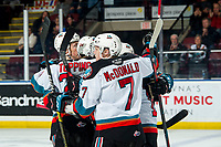 KELOWNA, BC - MARCH 7: Pavel Novak #11, Kyle Topping #24 and Conner McDonald #7 celebrate a first period goal against the Lethbridge Hurricanes at Prospera Place on March 7, 2020 in Kelowna, Canada. (Photo by Marissa Baecker/Shoot the Breeze)