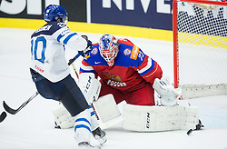 Janne Pesonen of Finland vs Sergei Bobrovski of Russia during Ice Hockey match between Finland and Russia at Day 12 in Group B of 2015 IIHF World Championship, on May 12, 2015 in CEZ Arena, Ostrava, Czech Republic. Photo by Vid Ponikvar / Sportida