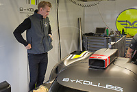 Oliver Webb In the Garage with the Bykolles Yeam who are working on the car in preparation for tonight qualification 24hr Le Mans 16th June 2016