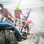 Leg 4, Melbourne to Hong Kong, day 13 on board MAPFRE, Sophie Ciszek, Xabi Fernandez and Pablo Arrarte sailing the boat. Photo by Ugo Fonolla/Volvo Ocean Race. 13 January, 2018.