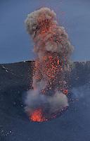 Explosion, Stromboli Volcano, Etna, Sicily Italy