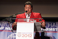 30 May 2012: 2012 Inductee Tony Meola chokes up while thanking the late Lamar Hunt (not pictured). The 2012 National Soccer Hall of Fame Induction Ceremony was held at Fedex Field in Landover, Maryland before a men's international friendly soccer match between the United States and Brazil.