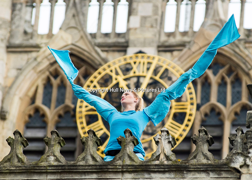 16 September 2017: Rehearsals today  on the roof of Hull Minster as The Royal Ballet returns to the city for the first time in 30 years tonight to reopen Hull New Theatre following the venue's £16 million transformation.<br /> Curated by the company's Hull-born director Kevin O'Hare the sold-out show, Opening The New, is a major highlight of this year's City of Culture events.<br /> Hull born Xander Parish, the first Briton to be a principal dancer at Russia's Mariinsky Ballet and his sister Demelza who is with the Royal Ballet, have returned to their home city for the  performance.<br /> They will be joined by others from Hull including Royal Ballet soloist Elizabeth Harrod and Joseph Caley, who has just been made a principal at English National Ballet. The performance will be curated by the Royal Ballet's director Kevin O'Hare, also from Hull.<br /> Another dance in Trinity Square today will involve more than 100 local young dancers.<br /> Picture: Sean Spencer/Hull News & Pictures Ltd<br /> 01482 210267/07976 433960<br /> www.hullnews.co.uk         sean@hullnews.co.uk