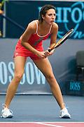 Moscow, Russia, 15/10/2004..The WTA Kremlin Cup tennis tournament. Anastasia Myskina defeats Vera Zvonareva in women's singles quarter final..
