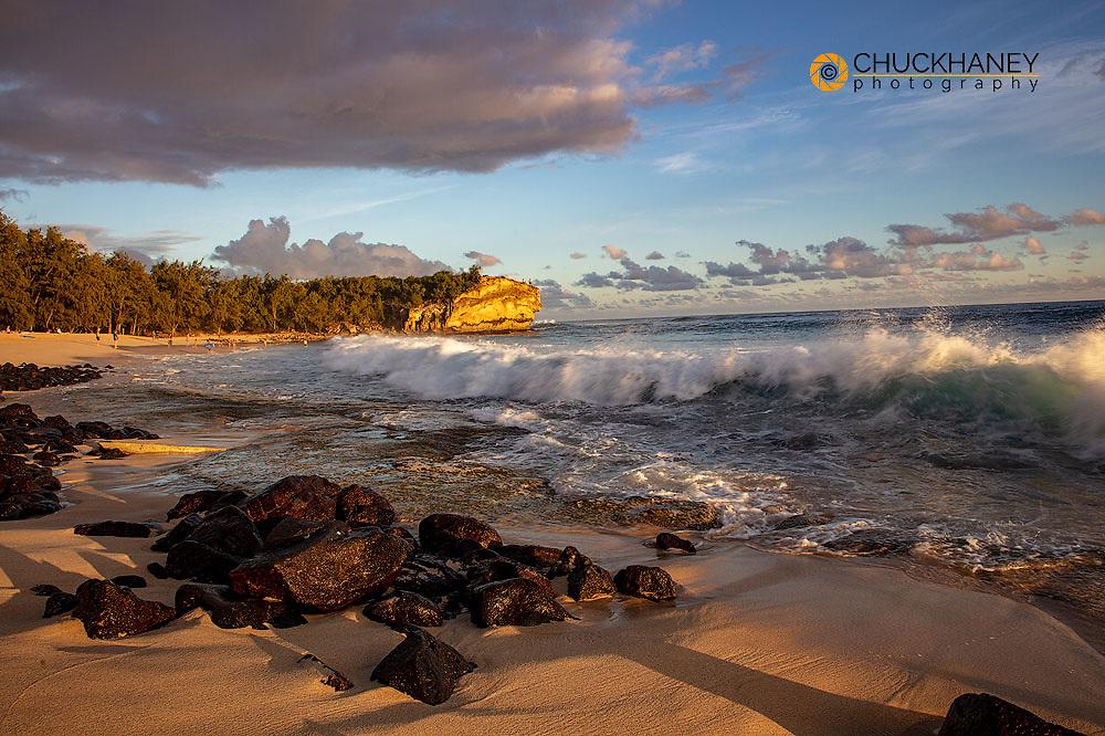 Shipwreck Beach at sunset in Poipu in Kauai, Hawaii, USA