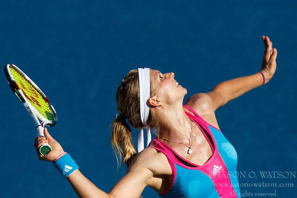 July 28, 2011; Stanford, CA, USA;  Maria Kirilenko (RUS) serves the ball against Serena Williams (USA), not pictured, during the second round of the Bank of the West Classic women's tennis tournament at the Taube Family Tennis Stadium.  Williams defeated Kirilenko 6-2, 3-6, 6-2.