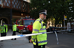 Emergency services at the scene after a fire engulfed the 27-storey Grenfell Tower in west London.