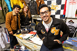 The very cool motorcycle and Vintage culture clothing brand Unionwell of Indonesia was set up at the 27th Annual Mooneyes Yokohama Hot Rod Custom Show 2018. Yokohama, Japan. Sunday, December 2, 2018. Photography ©2018 Michael Lichter.