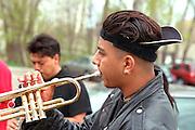 Musician age 19 performing at Cinco de Mayo festival.  St Paul Minnesota USA