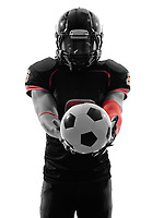 one american football player soccer ball in silhouette shadow on white background