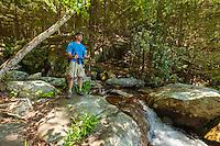 Hiker at Panther Falls,Cohutta Wilderness, Chattahoochee National Forest