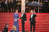 Robert Redford, Sibylle Szaggars and  Thierry Fremaux on the red steps at the All Is Lost film gala screening at the Cannes Film Festival Wednesday 22nd May 2013