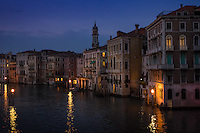 VENICE, ITALY - CIRCA MAY 2015: View of the Gran Canal from the Rialto Bridge at night in Venice