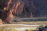 Silver Bridge over the Colorado River on the Bright Angel Trail at the bottom of Grand Canyon National Park, Arizona.