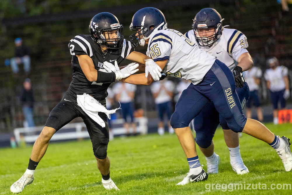 Colt Cummings, Chase Campbell. Vale High School vs La Pine High School football game at Frank Hawley Stadium in Vale, Oregon on September 10, 2021.