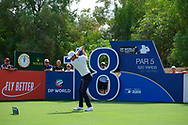 Lucas Bjerregaard (DEN) on the 18th tee during the 3rd round of the DP World Tour Championship, Jumeirah Golf Estates, Dubai, United Arab Emirates. 17/11/2018<br /> Picture: Golffile   Fran Caffrey<br /> <br /> <br /> All photo usage must carry mandatory copyright credit (© Golffile   Fran Caffrey)