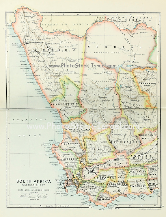 Ancient map of South Africa Western Sheet (1895) from the book 'The Castle Line atlas of South Africa' : a series of 16 plates, printed in colour, containing 30 maps and diagrams, with an account of the geographical features , the climate, the mineral and other resources, and the history of South Africa. And an index of over 6,000 names