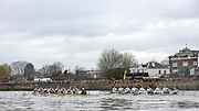 Putney, London,  Oxford left as the crews approach the Ship, the 156th University Boat Race  over  the Championship Course,  Putney to Mortlake. on Saturday  03/04/2010 [Mandatory Credit Peter Spurrier/ Intersport Images] <br /> <br /> CUBC Crew, Bow - Rob WEITEMEYER, Geoff ROTH, George NASH, Peter McCELLAND, Deaglan McEACHERN, Henry PELLY, Derek RASMUSSEN, Stroke - Fred GILL and Cox - Ted RANDOLPH<br /> <br /> OUBC crew, Bow - Ben MYERS, Martin WALSH, Tyler WINKLEVOSS, Cameron WINKLEVOSS, Sjoerd HAMBURGER, Matt EVANS, Simon GAWLIK, Stroke - Charlie BURKITT and Cox - Adam BARHAMAND
