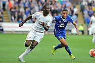 Eder of Swansea City is chased by Brendan Galloway of Everton in the second half.<br /> Barclays Premier League match, Swansea city v Everton at the Liberty Stadium in Swansea, South Wales on Saturday 19th September 2015.<br /> pic by Phil Rees, Andrew Orchard sports photography.