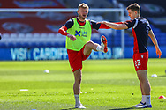 Nottingham Forest's Joe Worrall (4) with team-mate Ryan Yates (22) during the EFL Sky Bet Championship match between Cardiff City and Nottingham Forest at the Cardiff City Stadium, Cardiff, Wales on 2 April 2021.