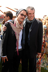 Left to right, JACK HUSTON and DANNY HUSTON at the Cartier International polo at Guards Polo Club, Windsor Great Park on 29th July 2007.<br />